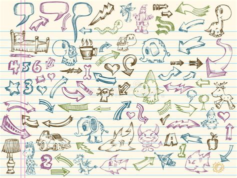 free doodle vector set doodle sketch vector set royalty free stock images image