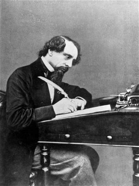 Charles Dickens Essay by Prolific Novelist Charles Dickens Seated Writing With A Quill Pen Premium Photographic
