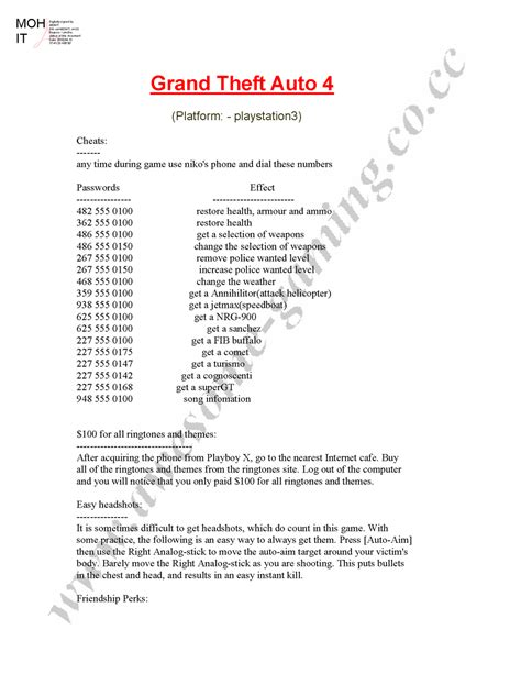 Grand Theft Auto 4 Cheats For Playstation 3 by Archives Gettlike