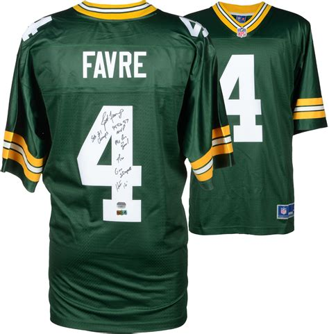 brett favre jersey brett favre green bay packers autographed green proline jersey with career stats limited