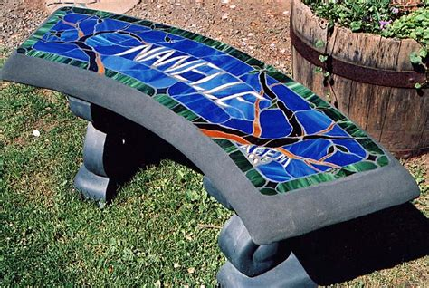 Memorial Concrete Benches by Custom Stained Glass Benches Concrete Benches Nanaimo
