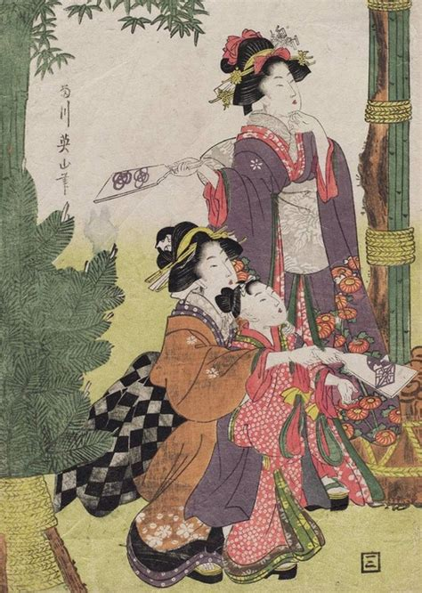 japan during new year hanetsuki during new years ukiyo e woodblock