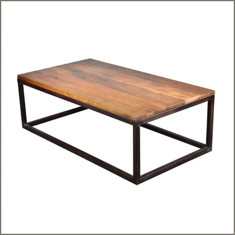 modern coffee table industrial iron mango wood 52 long coffee table