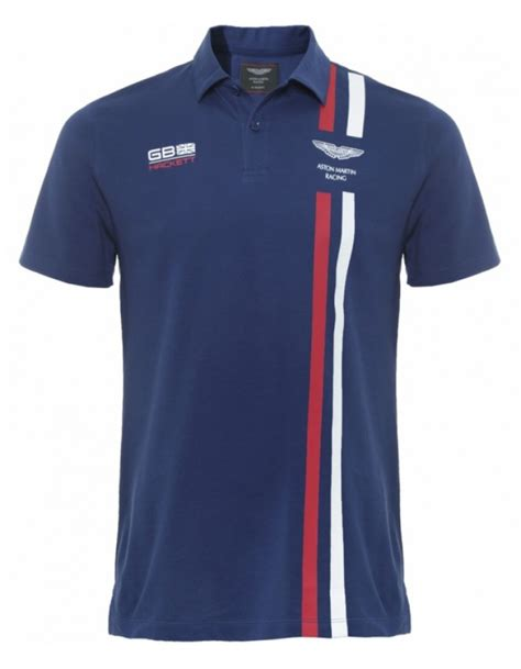 Aston Martin Shirt by Hackett Aston Martin Racing Stripe Polo Shirt In Blue For