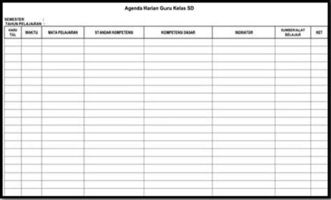 format buku harian guru contoh format agenda harian guru sd mi terbaru homesdku