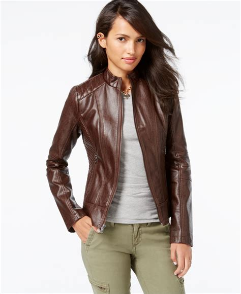 brown faux leather brown pleather jacket coat nj