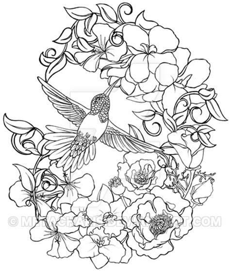 hummingbird with flowers tattoo by metacharis on deviantart
