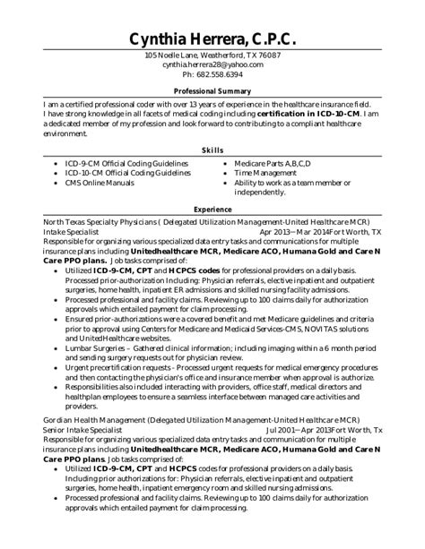 resume certification 04 12 15 resume with icd 10 cm certification