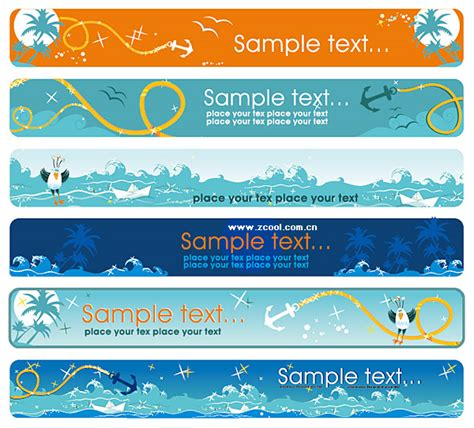 cartoon seascape theme banner vector download free vector