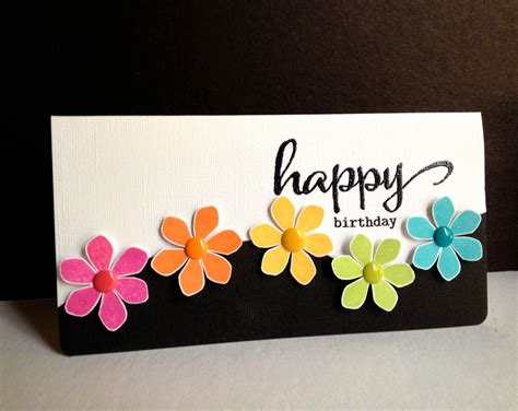 Handmade Birthday Cards - i m in happy flowers happy birthday
