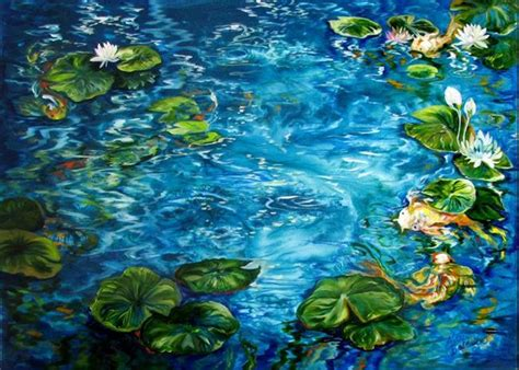 acrylic paint artist pad koi pond abstract commission by marcia baldwin from