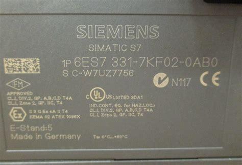Siemens Simatic S7 300 6es7331 7kf02 0ab0 siemens 6es7331 7kf02 0ab0 simatic s7 300 sm331 analog u i