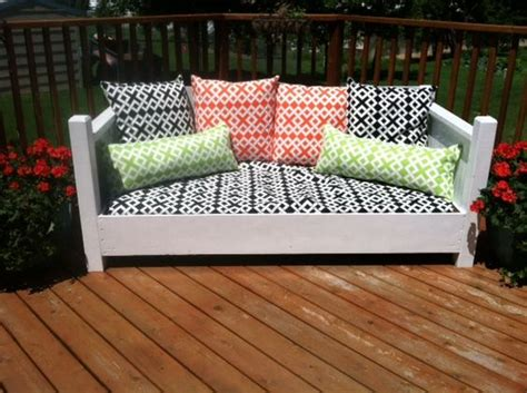 twin bed into couch a repurposed twin bed made into an outdoor sofa with
