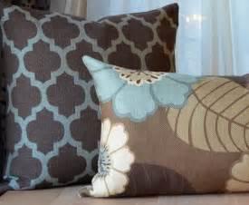 brown and blue pillow brown pillow aqua by septemberhome