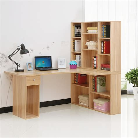 corner desk with bookshelf whitevan