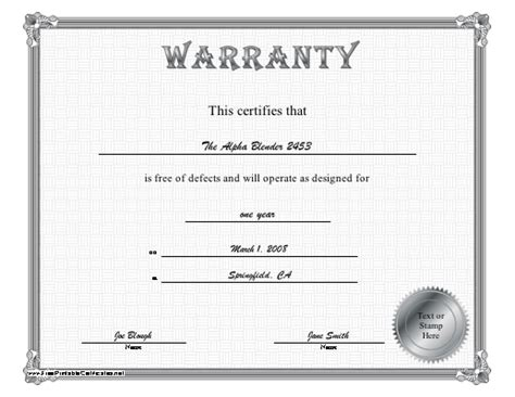 certificate of guarantee template warranty certificate template images