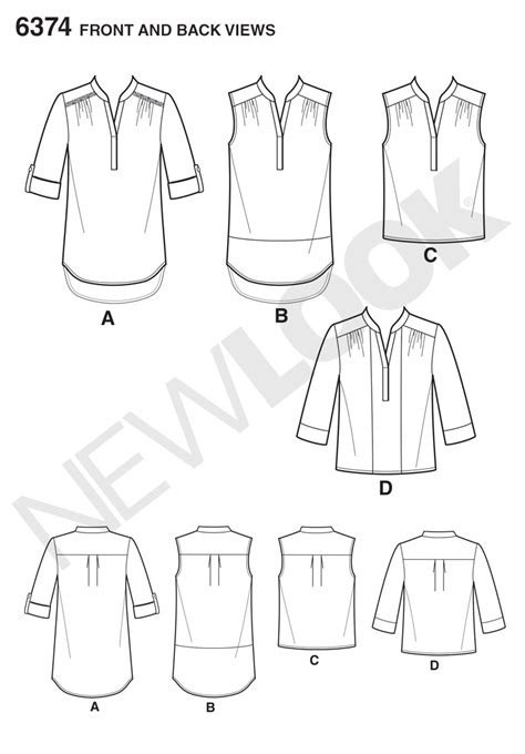 Pattern Review New Look 6374 | new look 6374 misses shirts with sleeve and length