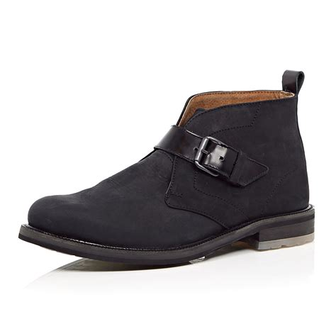 monk boots river island black nubuck leather monk boots in