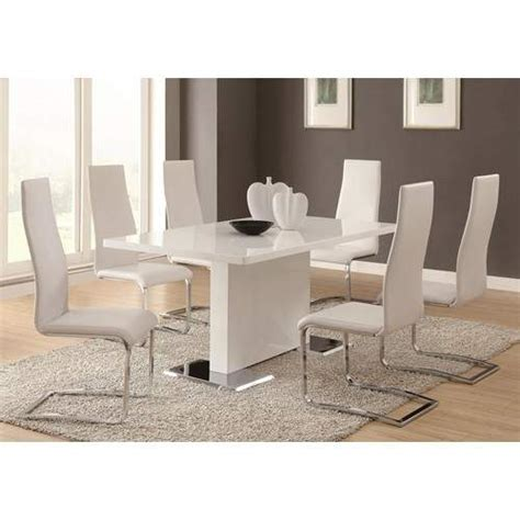 Dining Room Benches With Backs modern dining 7 piece white table amp white upholstered