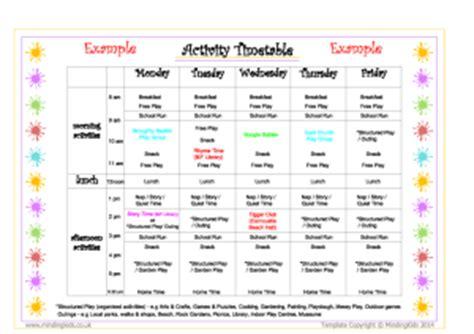 activity timetable template parent information marketing pack mindingkids