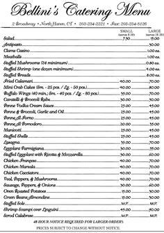 catering price list template free downloadable catering contracts forms catering