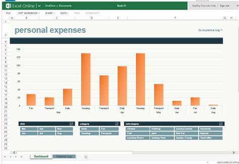 Monthly Expense Chart Template For Excel Online Excel Monthly Spending Template