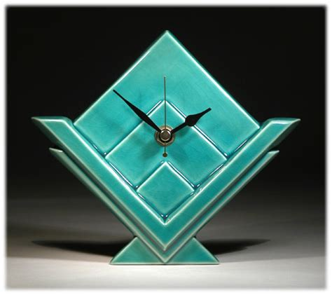 Handmade Ceramic Wall Clocks - handmade ceramic wall clock in an deco style designed