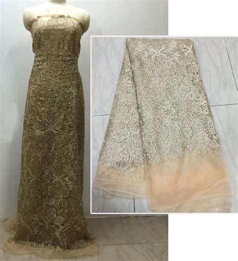 Bahan Kain Tulle Tile Tille Lace 2016 beautiful polyester gold tulle lace lace fabric for