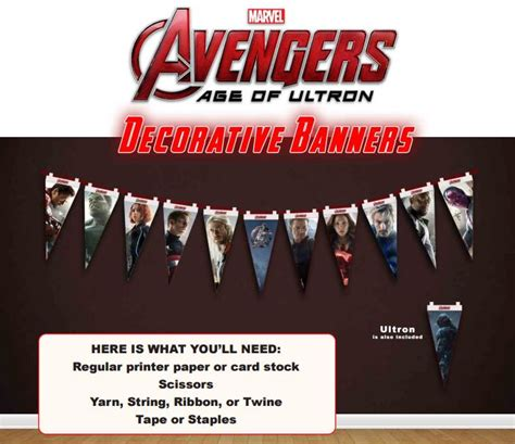 printable avengers birthday banner free avengers age of ultron printable party decoration