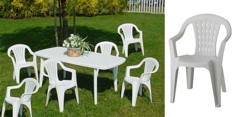 salon de jardin pvc blanc salon elfo blanc 6 fauteuils empilables oogarden