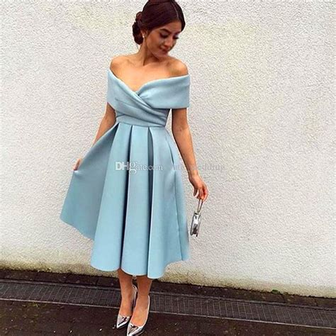 2017 Simple Blue Short Prom Dresses Off Shoulder Ruched Satin Tea Length Lavender Evening