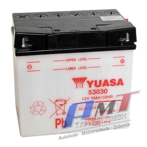 Motorradbatterie 30ah by Yuasa Motorradbatterie 53030 12v 30ah Ebay