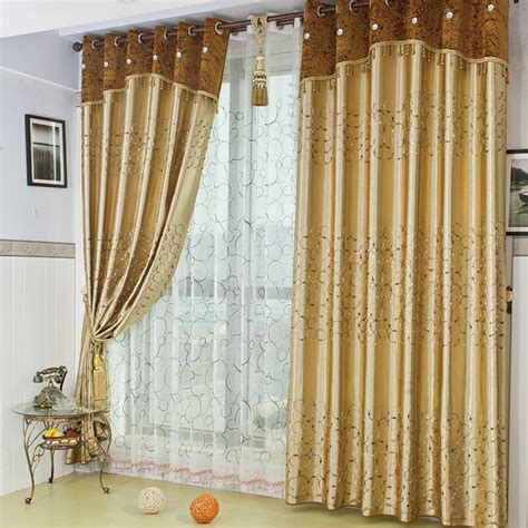 Living Room Curtains Gold Gold Embroidered Gauze Window Blackout Curtains
