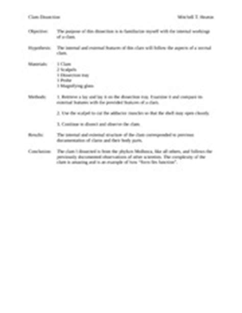 earthworm dissection conclusion clam dissection lab report clam dissection mitchell t