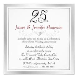wording for 25th wedding anniversary invitations 25th wedding anniversary invitations zazzle