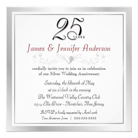 25th wedding anniversary invitation cards templates wedding invitation wording wedding anniversary