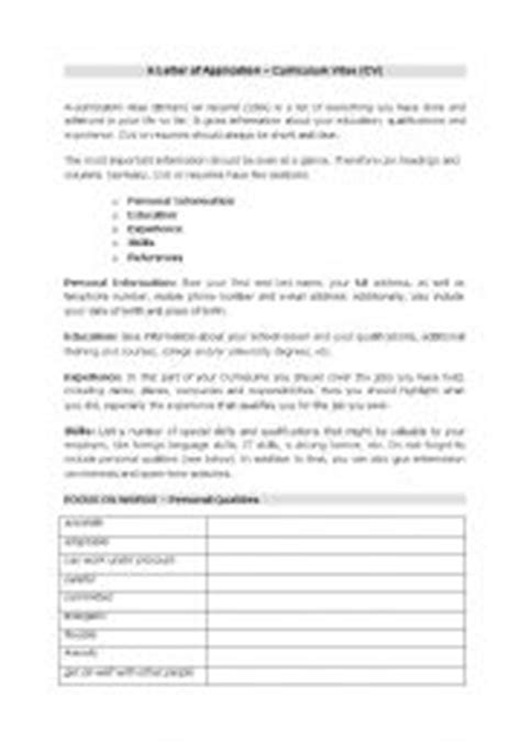 teaching worksheets curriculum vitae cv