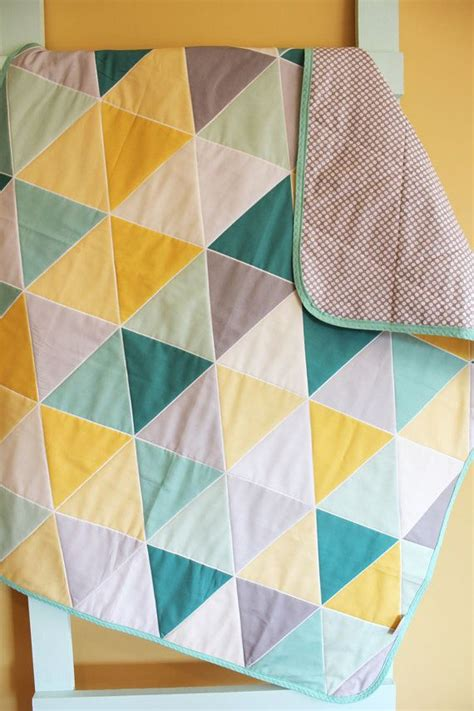 Triangle Quilts by Mint Teal Geometric Triangle Quilt By Petunias Blanket