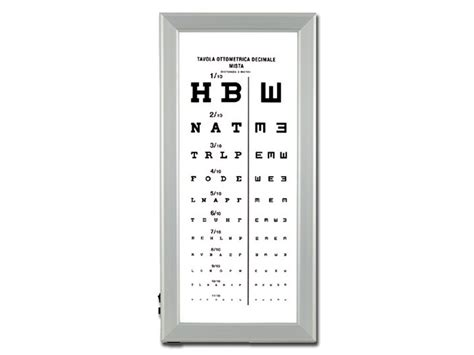 tabellone lettere oculista ultra slim led optometric chart mixed decimal