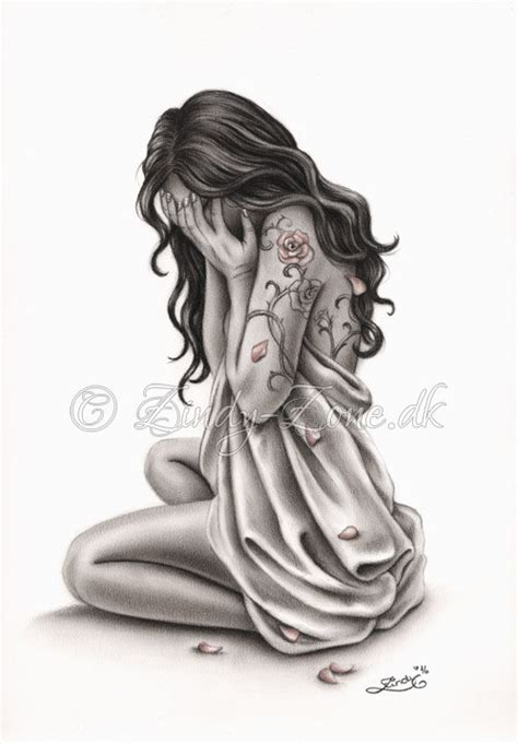 petals of sorrow sad crying woman rose tattoo art print emo