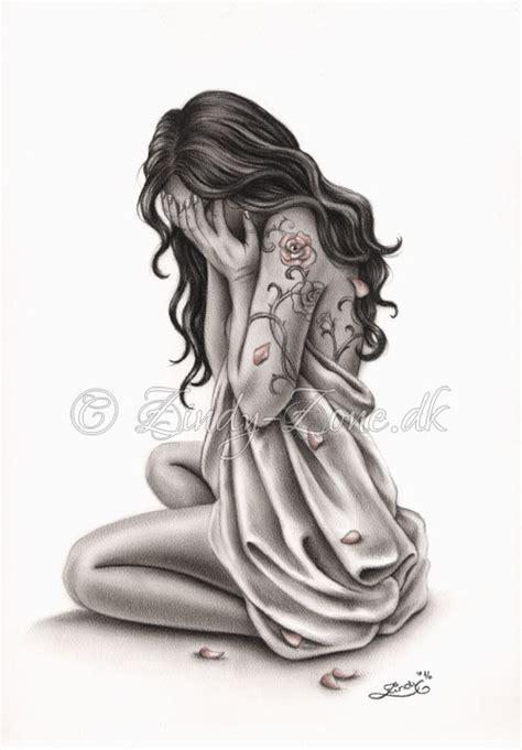 petals of sorrow sad crying woman rose tattoo art print emo