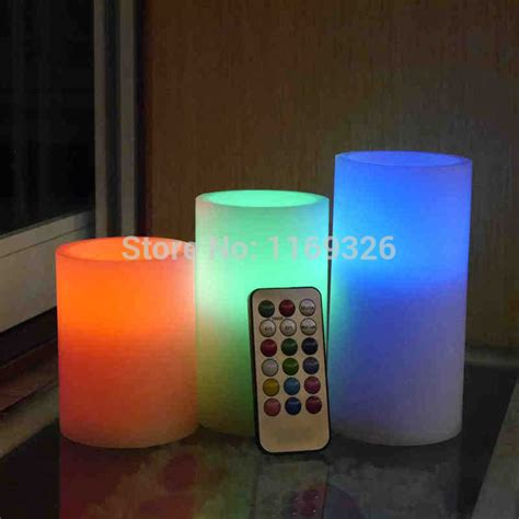 Rgb Free 3pcs Led Candles With Remote T0210 3pcs set 18key remote led candles wedding