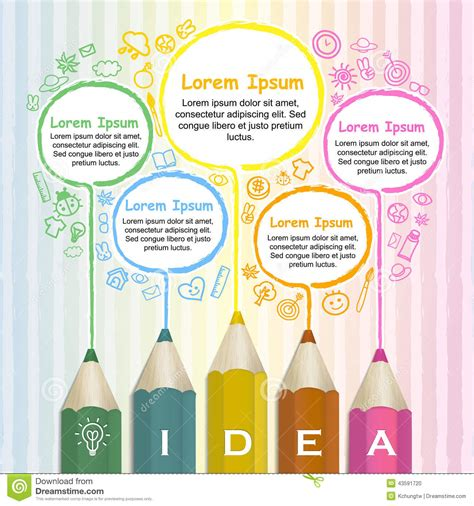 Drawing Infographic Template Creative Template Infographic With Colorful Pencils Drawing Line Stock Vector Image 43591720