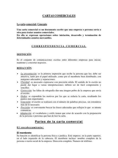 carta formal o comercial cartas comerciales concepto