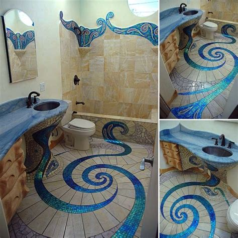 Mosaic Bathroom Floor Tile Ideas | unique and amazing mosaic bathroom design