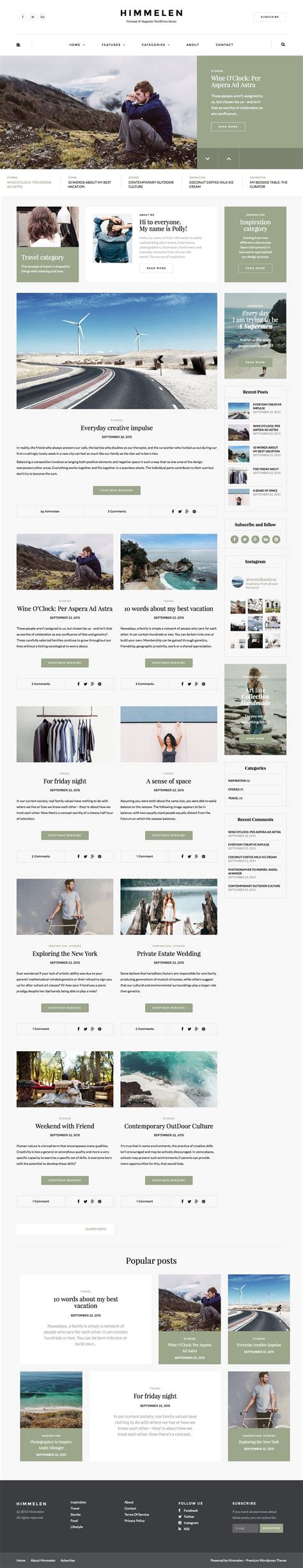 blog theme in themeforest himmelen personal wordpress blog theme by dedalx