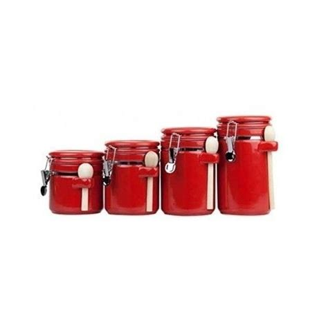 red kitchen canisters set red canister set ceramic kitchen counter wooden spoon