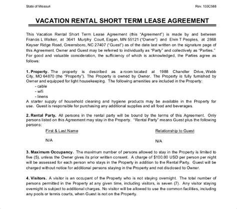16 Short Term Rental Agreement Templates Pdf Doc Free Premium Templates Vacation Rental Agreement Template Word