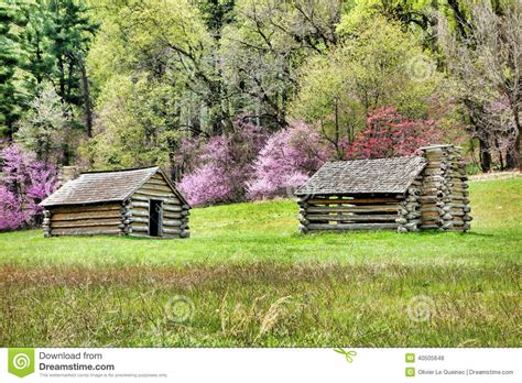 Valley Forge Log Cabins by Soldier Log Cabins At Valley Forge National Park Stock
