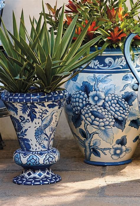 blue and white ceramic l blue and white painted planters ceramics blue and and